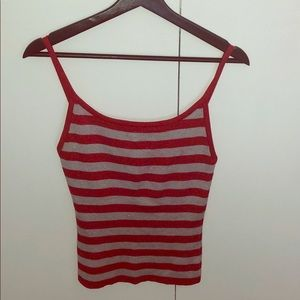 Sparkly red and grey stripe tank top